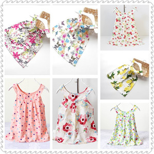 2017 INS coton Backless robe fille floral plage mignon bébé été backless licol robe enfants vintage imprimé robe