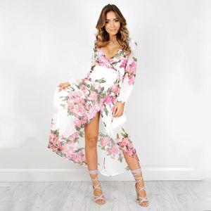 Robes de mode européenne et américaine impression dentelle robe irrégulière grand printemps nouvelle robe sexy à manches longues col v