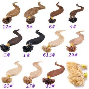 Toptan U-İpucu Saç Uzantıları İnsan 50g U-ucu Uzantıları 100 Tellerinin Ön Gümrük Tırnak İpucu Önceden Bağlanmış Saç Uzantıları
