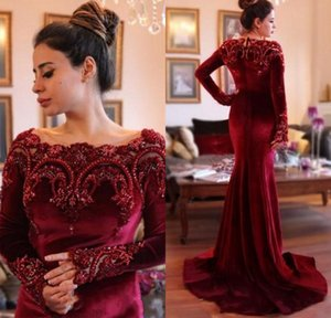 Robes de l'Arabie 2017 Élégant Bordeaux Velours Manches Longues Robes de Soirée Sirène Col Perlé Robes De Bal Rouge