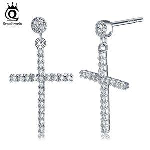 ОРСа Циркон серьги чистое серебро серьги для женщин/мужчин реальный 925 стерлингового серебра крест серьги ювелирные изделия SE37