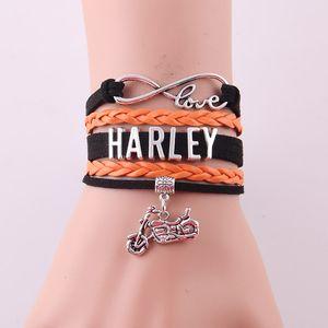 Wholesale-Infinity Love  bracelet Motorcycle Motocross Motorsport biker rope leather wrap Charm Bracelets & Bangles for women men