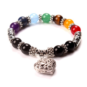 charm bangle bracelets yoga colorful agate beads bracelet 7 chakra heart pendant bracelets Antique Silver Plated Jewelry
