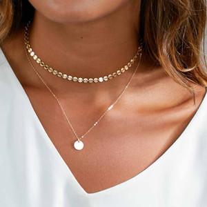 Regalo de Navidad moneda de oro Collar de múltiples capas fijado para el encanto de las mujeres Gargantilla colgante partido del collar de Bohemia Playa joyería Declaración de la vendimia