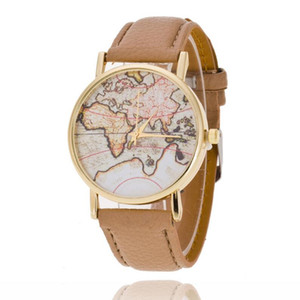 New Geneva Earth map Watch vintage wrist watch leather for men women watch