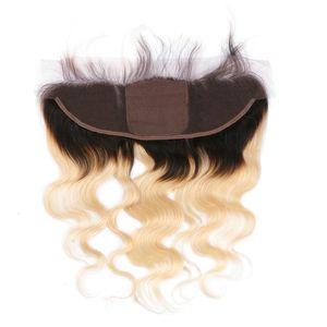 جسم موجة 1b / 613 شقراء أومبير الماليزية الإنسان الشعر الحرير قاعدة 13x4 كامل الرباط أمامي اختتام مع شعر الطفل الحرة الأوسط ثلاثة جزء