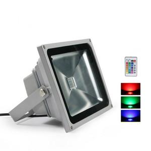 Lumière d'inondation de RVB LED 10W 20W 30W 50W des projecteurs extérieurs imperméabilisent la lampe de paysage de la CE ROHS IP65 avec à télécommande CA 85-265V