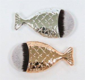 Mejor calidad !! Con Cap Mermaid cepillos ovales Foundation Brush Face Gold Cosmetics Blush Powder Pinceles de maquillaje Set 6 colores