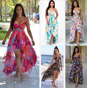 Şifon Yaz Flora Baskılı Kayma Uzun Elbise flowy Backless Bohemian Maxi Elbiseler Pinafore Plaj Boho Chic Artı boyutu XXXL. Ücretsiz kargo