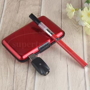 Vapor E cigarro de óleo Vaporizador Caneta Vape Case Plástico 510 Botão de Tópico 280mAh Bateria 1ML Cartucho de Particulação Kits