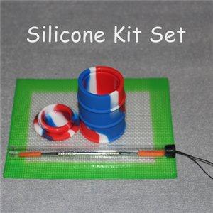 Silikon Yağı Balmumu Dab Slicks Aracı Kiti ile 5.5 * 4.5 inç Mat Pad yağ varil silikon Wax Dabbing Için Kavanoz Set