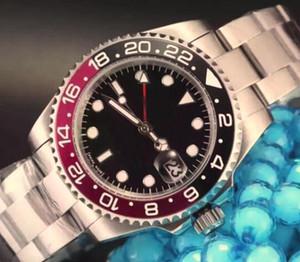 Luxo New Arrivals Preto e Vermelho Dezel Black Dial relógios de pulso Sports Sapphire antigo Homens automático dos homens Assista Pointer inoxidável Mens