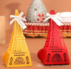50pcs High-grade Hollow style Candy Box Eiffel Tower Wedding Favors Boxes Free shipping