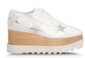 neue Großhandel Stella Star Mccartney Plateau Frauen Schuhe Silber echtes Leder mit Whtie Stars Lace Up Elyse