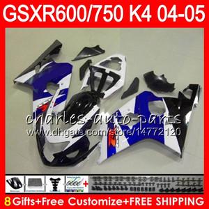 8 regali 23 colori corpo per Suzuki GSX-R600 GSXR750 GSXR600 04 05 GLOSS BLU 9HM37 GSX R600 R750 K4 GSX-R750 GSXR 600 750 2004 2005 carenatura