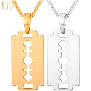 U7 Rasierklinge Halskette Männer Schmuck Trendy Silber / Gold / Schwarz Farbe Anhänger Kette Vatertag Geschenke Für Papa P559
