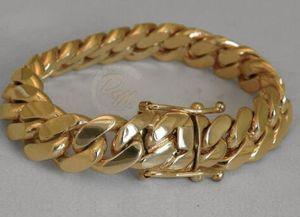 """Bracciale rigido a braccetto cubano solido 14K Gold Miami da uomo 8 """"pesante 98.7 grammi 12mm"""