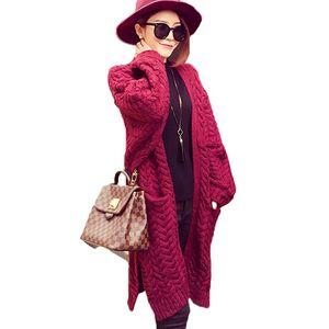 Wholesale- Split Twist lose gestrickt lange Strickjacke Frauen Pullover Mantel retro Langarm Herbst Winter warmen Pullover übergroße Strickwaren Pullover