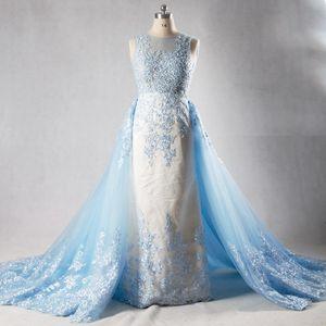 2021 светлое небо голубое кружевное вечернее платье с отрядным собором поезда роскошный элегантный иллюзия бисером горный хрусталь реальные формальные платья