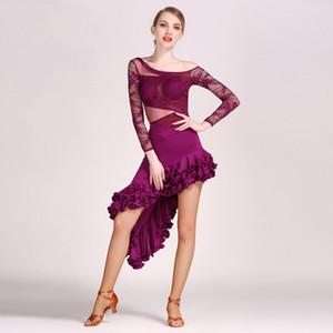 Vestito da ballo latino per le donne Vestito di pizzo + gonna 2 pezzi Set costume Baile latino per adulti Cha Cha Rumba Samba Tango Salsa Competition Abiti F243