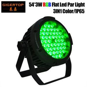 Gigertop TP-P111 Düz 54x3W RGB Tam Gerçek Güç Su geçirmez IP65 Sahne Led Par Işık 150W 4CH / 8CH ince alüminyum gövdesi CE ROHS Sertifikası
