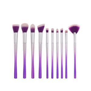 Mermaid Makeup Brush Set Diamond Professional Purple Silver Foundation Brushes Powder Eyeshadow Makeup Brushes Herramientas