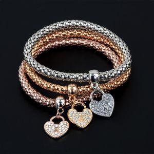 Catena di mais 3 stili elastico con diamante gioielli al Valore Top Bracciali qualità Bangles tre colori Set per le donne