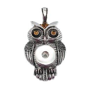 Venda Hot 118 Owl strass 18 milimetros botão Snap pingente de colar de intercambiáveis charme jóias para as mulheres presente