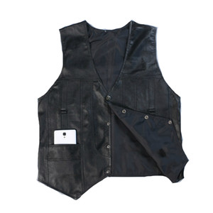 Wholesale- High Quality Leather Vest Mens Clothing Real Sheepskin Waistcoat Winter Autumn Soft Black Mens Gilet Vintage Motorcycle Jacket