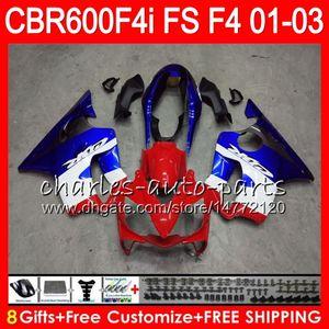 8Geschenke 23Farben für HONDA CBR600FS FS CBR 600 F4i 01-03 28NO63 blau schwarz CBR600 F4i CBR 600F4i CBR600F4i 2001 2002 2003 01 02 03 Verkleidung