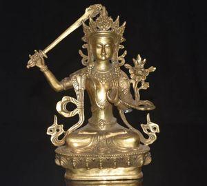Raro Vintage Cina Tibet Culture HandMade Brass Statue Manjushri Buddha