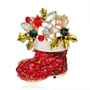 Christmas Brooch Red Crystal Santa Claus boots Pin Brooch Christmas gifts Jewelry Fashion Apparel brooches DHL free shipping