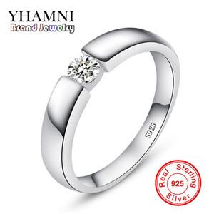 Inviato certificato d'argento! YHAMNI Real Original 925 Silver Men Anello Fine Jewelry intarsio 5mm Diamond Brand Fidanzamento Wedding Ring per gli uomini LD10