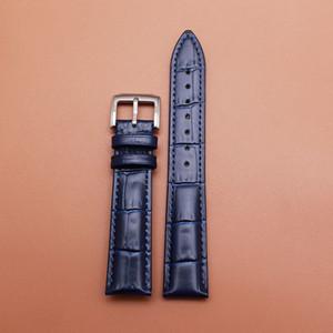 14 16mm 18mm 19mm 20mm Nuovo blu alligatore grano cinturino cinturino in vera pelle braccialetto argento pin fibbia fibbia accessorio orologio uomo donna