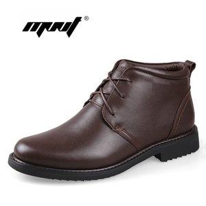 Wholesale- Tallas grandes de los hombres botas de nieve de cuero genuino natural súper cálido botas de tobillo hechas a mano para los zapatos de otoño e invierno