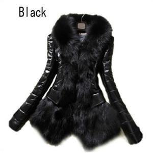 Heiße Frauen Faux-Pelz-Mantel-Leder-Oberbekleidung Snowsuit lange Hülsen-Jacke schwarze Art und Weise freies Verschiffen