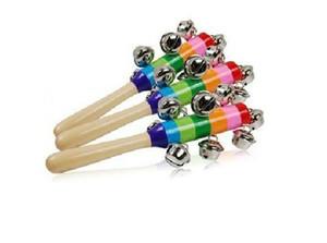 Детские Радуга деревянные шейкер игрушки Детские Радуга погремушка игрушки Детские коляски детская кроватка ручка деятельности колокол Stick музыкальные инструменты развивающие игрушки