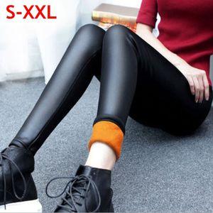 Wholesale- Velvet Faux Leather Legging Women Winter Leggings Warm leggings Plus Size Black Leggings Calzas Mujer Leggins Thick Fleece Sexy