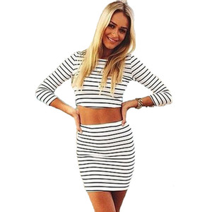 New Summer Striped Casual Women Tuta Due pezzi Set Crop Top Plus Size Moda sexy formale Harajuku Vintage Clothes