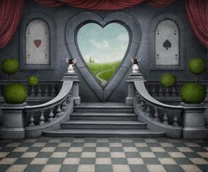 Retro Weinlese-Fotografie-Hintergrund-magische Show Herz-förmige Bogen-Tür-roter Vorhang-Kinderkinderstadiums-Kulissen-Vinyl