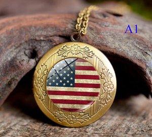 Национальный флаг Подвески Ожерелье ювелирные изделия Время камень Фоторамка Канада США Великобритания многие стиль стимпанк Jewelry AA470