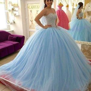 Işık Gökyüzü Mavi Kristal Quinceanera Modelleri Boncuklu Sevgiliye Masquerad Tatlı 16 Tül Abiye Debutante Elbise
