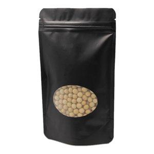 100 Pz / lotto Stand Up Nero Opaco Foglio di alluminio puro con finestra trasparente Conservazione degli alimenti sacchetto di imballaggio Zip Lock Grip Seal Pack Bag