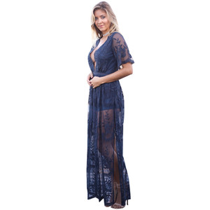 Deep V-neck Lace Evening Party Dresses 2017 Summer Hollow Out Long Maxi Split Dress Ladies Sexy Boho Beach Vestidos