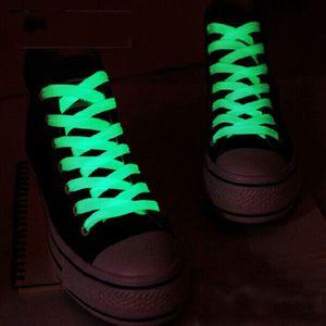 Neue Design-Luminous Shoelaces Luminous Glühen im Camping-Party-Dunkel Fluoreszenz Schnürsenkel Schnürsenkel Polyester Nylon Flache Schuhe