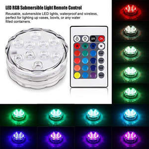 Edison2011 RGB 10LED 방수 잠수정 LED 티 라이트 캔들 라이트 원격 컨트롤러 웨딩 파티 이벤트 크리스마스