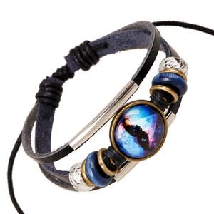 2017 novo tempo gem pulseira pulseira de couro pulseira de couro de exportação de jóias mão-tecido 20 pçs / lote