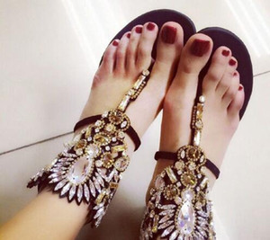 유럽 라인 석 Studded 검투사 샌들 패션 여름 여성 샌들 플랫 Nice Handmade Flip Flops 검투사 신발 여성