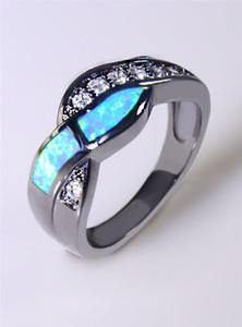 Venta al por mayor al por menor de moda fina azul de ópalo de fuego anillos 10KT oro negro lleno RJL170508002
