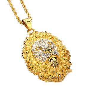 Erkekler Kadınlar Hediye için Lion Baş kolye kolye Paslanmaz Çelik Hayvan Kral Vintage 18K altın kaplama Erkek Hip Hop Moda Takı